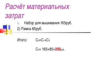 Расчёт материальных затрат Набор для вышивания 165руб. 2) Рамка 85руб. Итого: