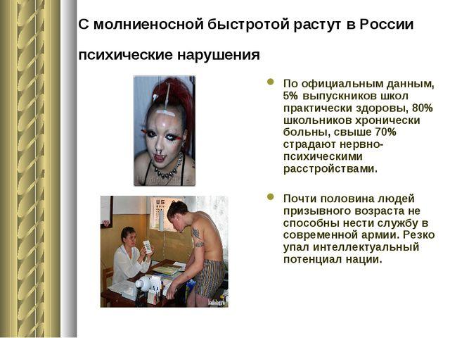 С молниеносной быстротой растут в России психические нарушения По официальным...