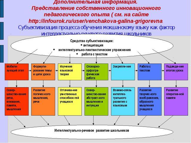 Дополнительная информация. Представление собственного инновационного педагоги...