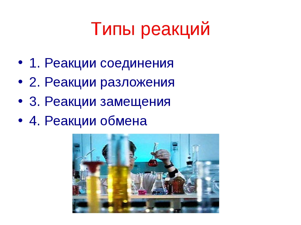 Типы реакций 1. Реакции соединения 2. Реакции разложения 3. Реакции замещения...