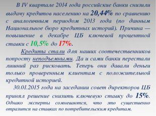 В IV квартале 2014 года российские банки снизили выдачу кредитов населению н