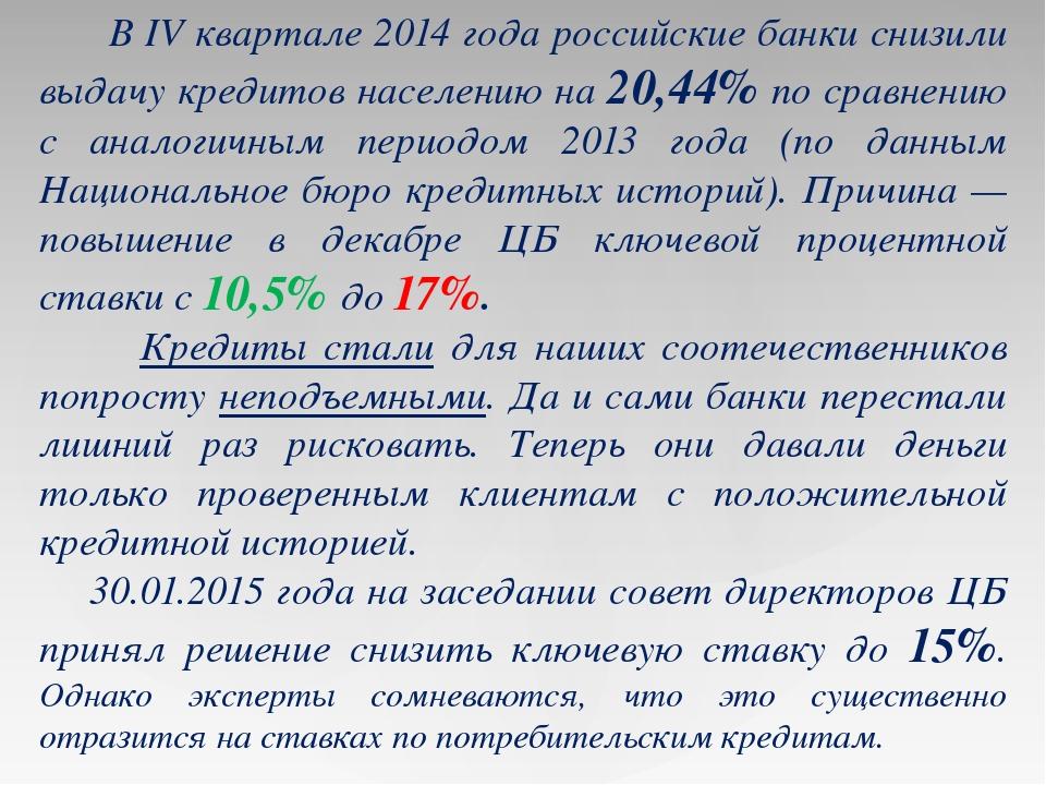 В IV квартале 2014 года российские банки снизили выдачу кредитов населению н...