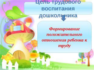 Цель трудового воспитания дошкольника Формирование положительного отношения р