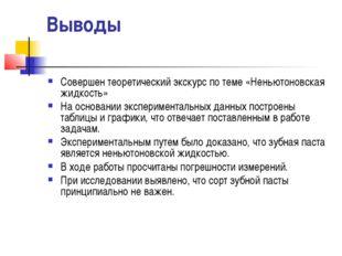 Выводы Совершен теоретический экскурс по теме «Неньютоновская жидкость» На ос