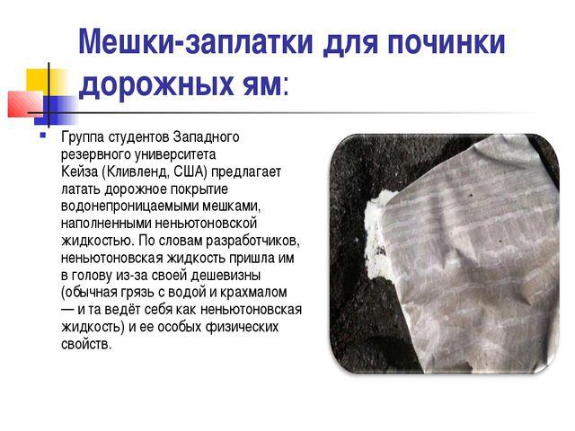 Мешки-заплатки для починки дорожных ям: Группа студентовЗападного резервного...