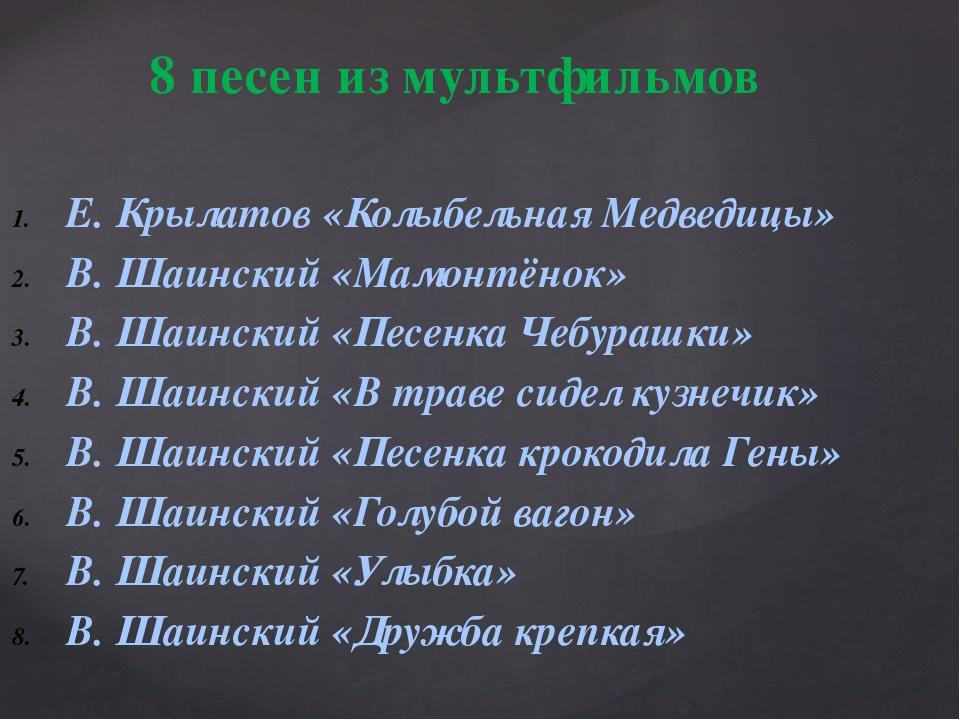 Е. Крылатов «Колыбельная Медведицы» В. Шаинский «Мамонтёнок» В. Шаинский «Пес...