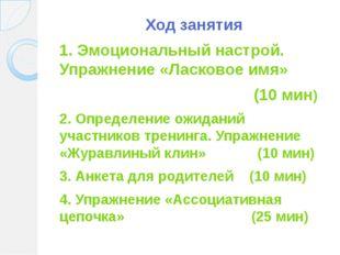 Ход занятия 1. Эмоциональный настрой. Упражнение «Ласковое имя» (10 мин) 2. О