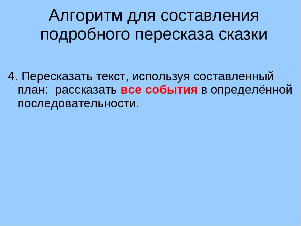 Алгоритм для составления подробного пересказа сказки 4. Пересказать текст, ис...