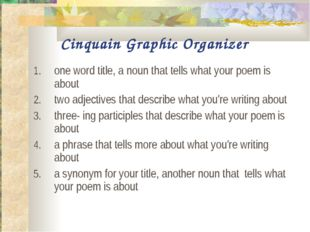 Cinquain Graphic Organizer one word title, a noun that tells what your poem i