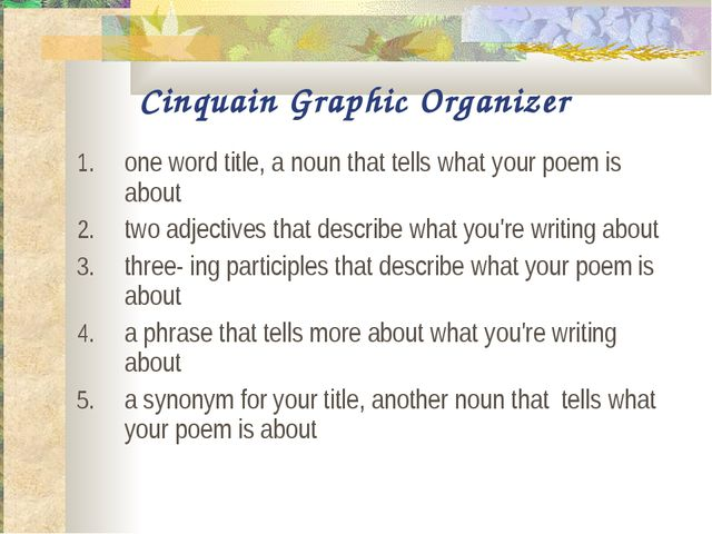 Cinquain Graphic Organizer one word title, a noun that tells what your poem i...