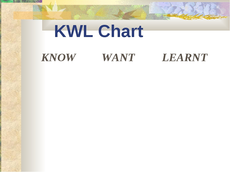 KWL Chart KNOW	WANT	LEARNT