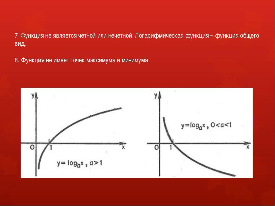 7. Функция не является четной или нечетной. Логарифмическая функция – функция...