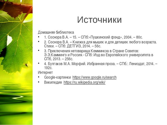 Источники Домашняя библиотека 1. Соснора В.А. – 15. – СПб:»Пушкинский фонд»,...
