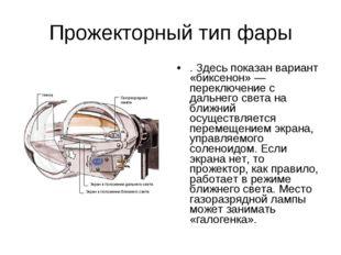 Прожекторный тип фары . Здесь показан вариант «биксенон» — переключение с дал