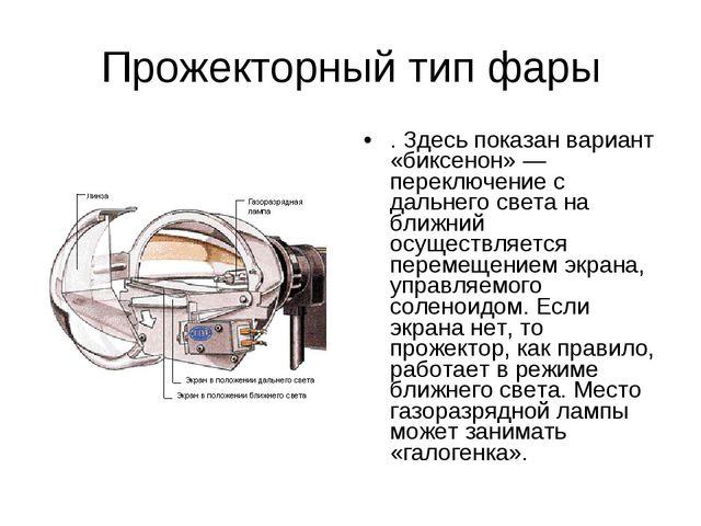 Прожекторный тип фары . Здесь показан вариант «биксенон» — переключение с дал...