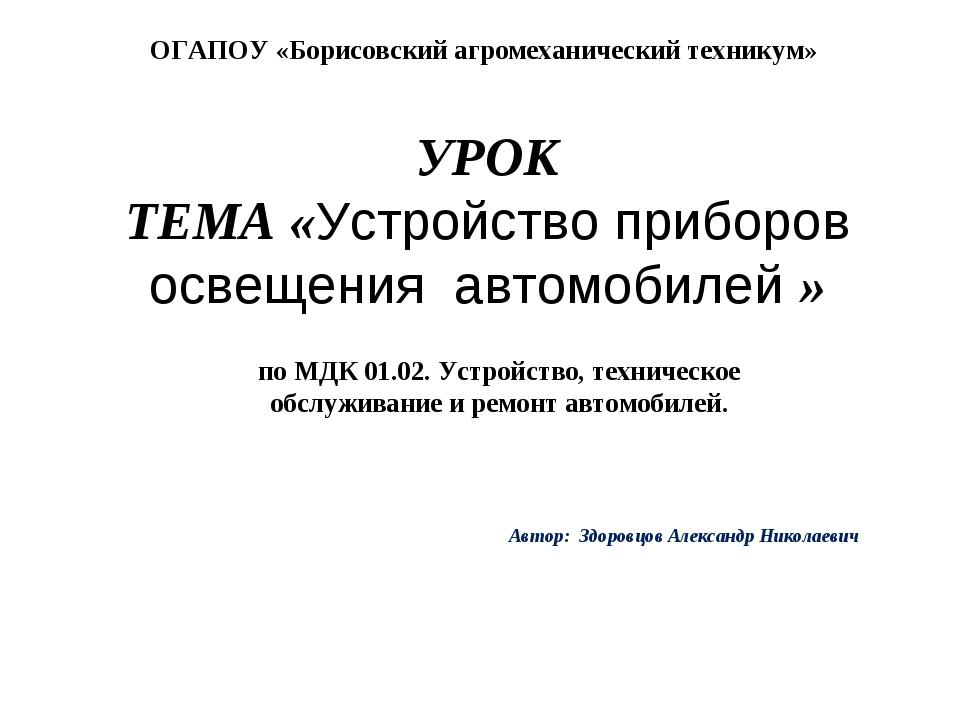 УРОК ТЕМА «Устройство приборов освещения автомобилей » Автор: Здоровцов Алекс...
