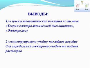 1) изучены теоретические понятия по темам «Теория электролитической диссоциац