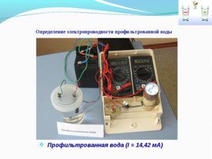 Определение электропроводности профильтрованной воды Профильтрованная вода (I