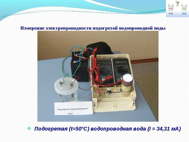 Измерение электропроводности подогретой водопроводной воды Подогретая (t=50°С...