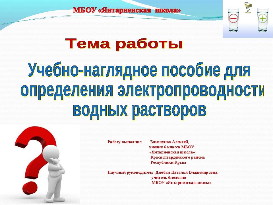 Работу выполнил Блискунов Алексей, ученик 6 класса МБОУ «Янтарненская школа»...