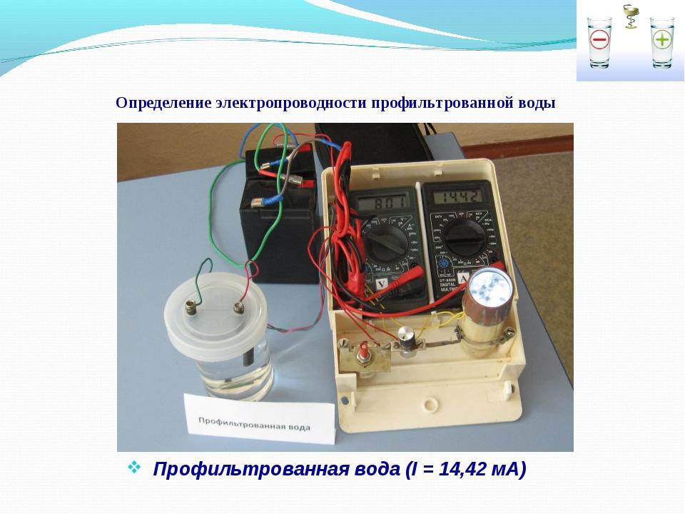 Определение электропроводности профильтрованной воды Профильтрованная вода (I...