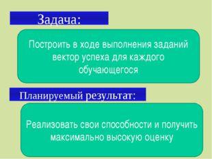 Задача: Планируемый результат: Построить в ходе выполнения заданий вектор усп