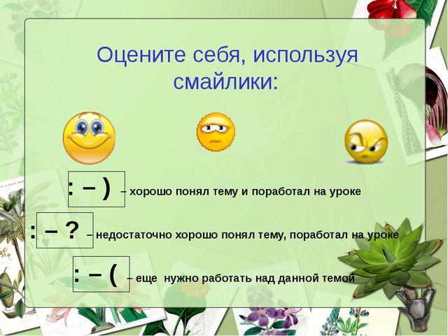 Оцените себя, используя смайлики: : – ) – хорошо понял тему и поработал на ур...