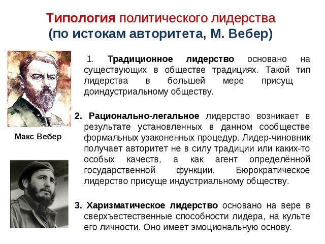 Типология политического лидерства (по истокам авторитета, М. Вебер) 1. Традиц...