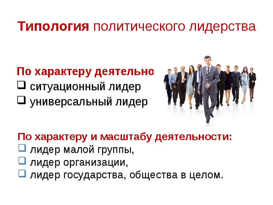 Типология политического лидерства По характеру деятельности: ситуационный лид...