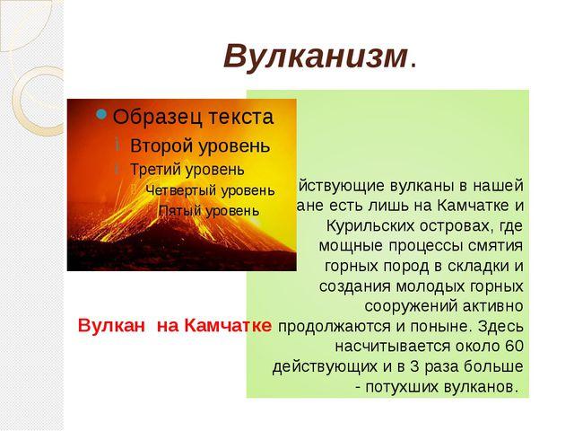 Вулканизм. Действующие вулканы в нашей стране есть лишь на Камчатке и Курильс...