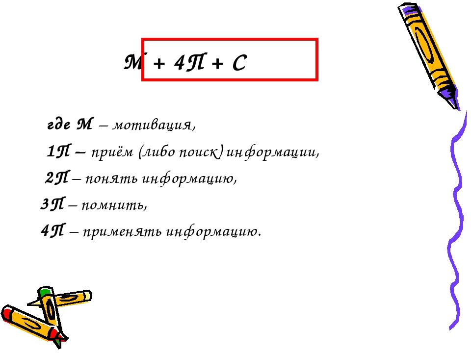 М + 4П + С где М – мотивация, 1П – приём (либо поиск) информации, 2П – понят...