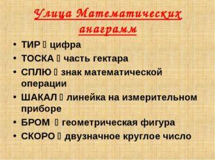 Улица Математических анаграмм ТИР  цифра ТОСКА  часть гектара СПЛЮ  знак м