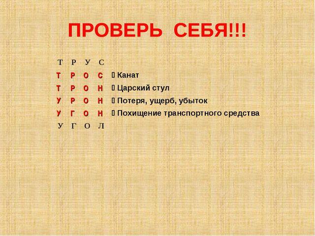 ПРОВЕРЬ СЕБЯ!!! ТРУС ТРОС Канат ТРОН Царский стул УРОН Пот...