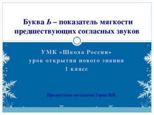 УМК «Школа России» урок открытия нового знания 1 класс Буква Ь – показатель м