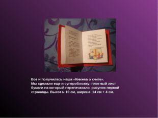 Вот и получилась наша «Книжка о книге». Мы сделали еще и суперобложку: плотны