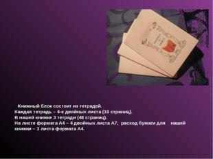 Книжный блок состоит из тетрадей. Каждая тетрадь – 4-е двойных листа (16 стр