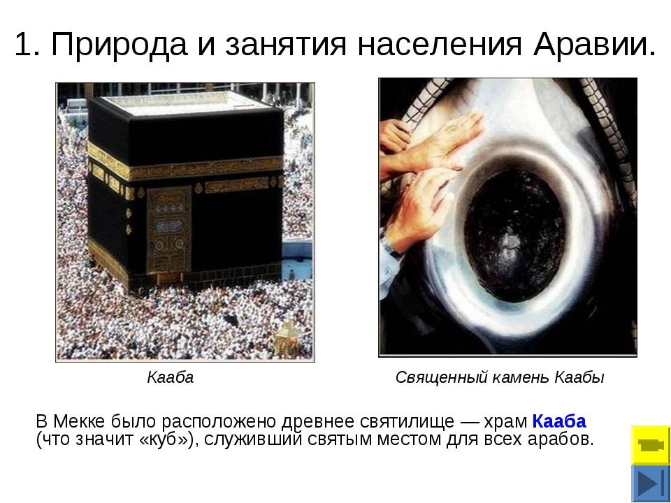 1. Природа и занятия населения Аравии. В Мекке было расположено древнее святи...
