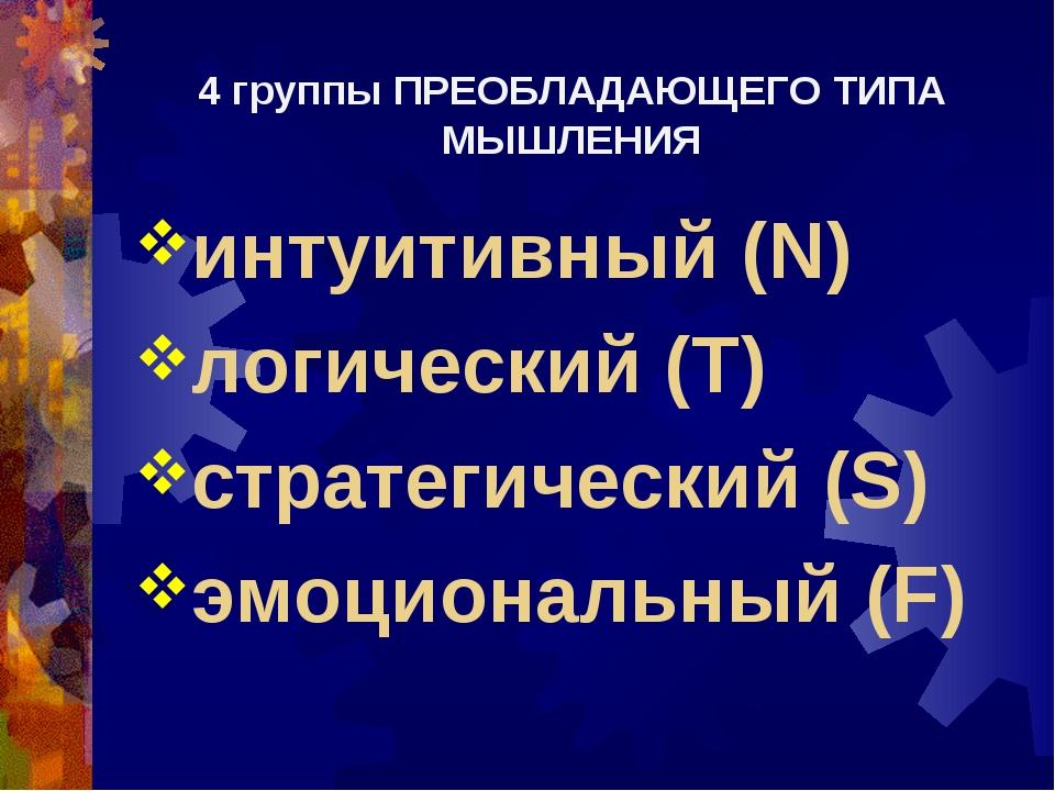 4 группы ПРЕОБЛАДАЮЩЕГО ТИПА МЫШЛЕНИЯ интуитивный (N) логический (T) стратеги...
