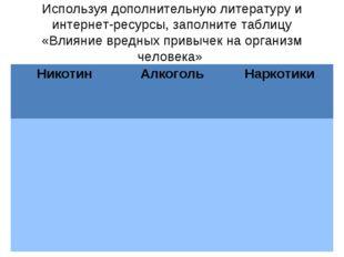 Используя дополнительную литературу и интернет-ресурсы, заполните таблицу «Вл