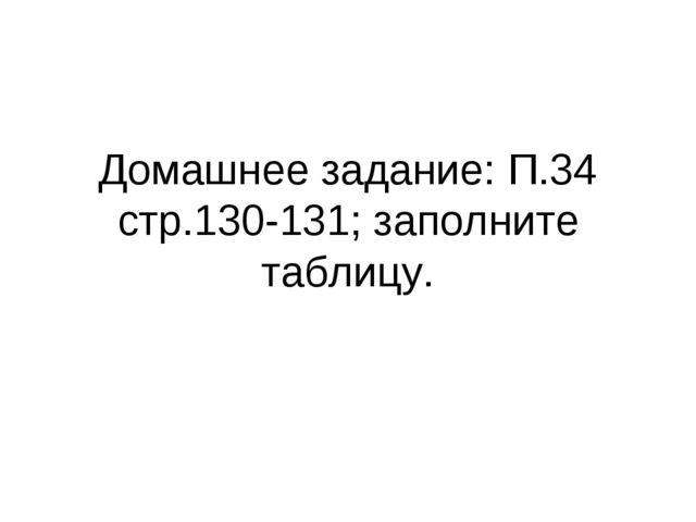 Домашнее задание: П.34 стр.130-131; заполните таблицу.