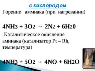 с кислородом Горение аммиака(при нагревании) 4NH3+ 3O2→2N2+ 6H20 Катали