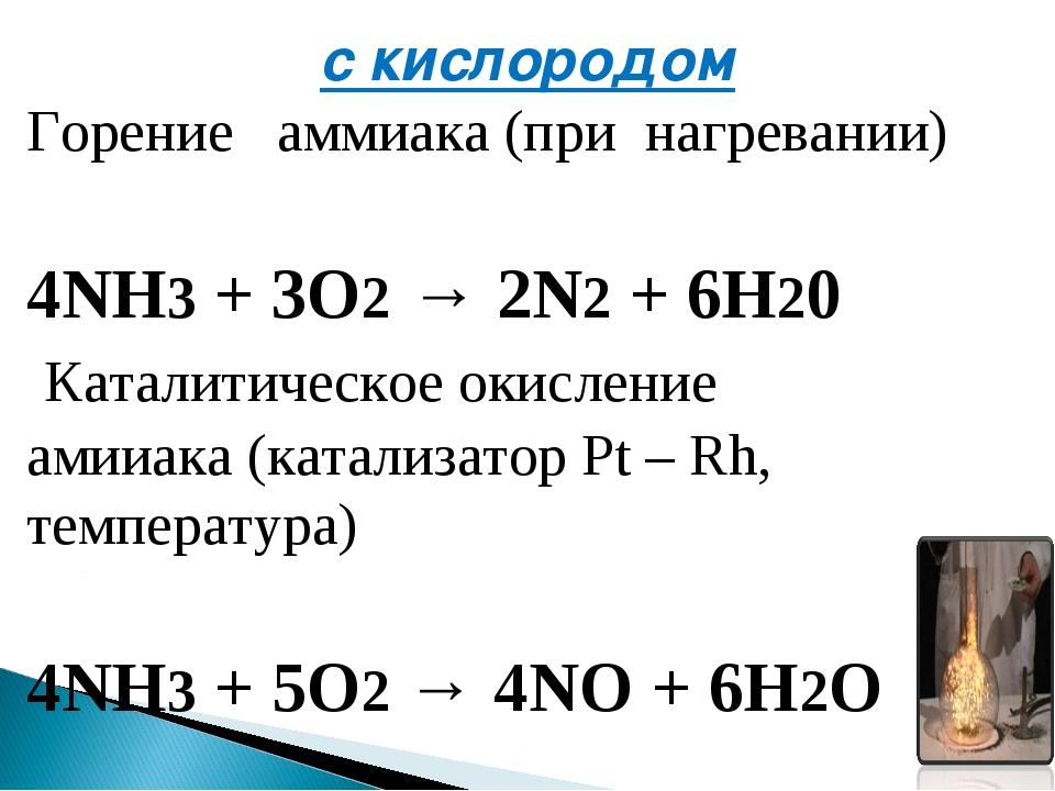 с кислородом Горение аммиака(при нагревании) 4NH3+ 3O2→2N2+ 6H20 Катали...