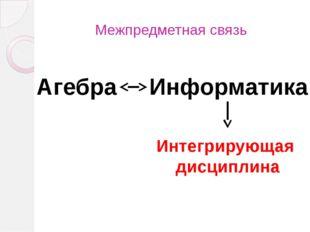 Межпредметная связь Агебра Информатика Интегрирующая дисциплина