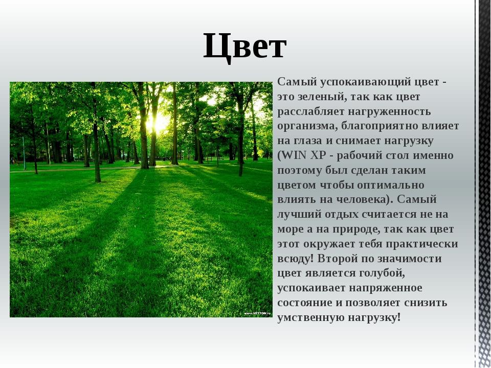 Цвет Самый успокаивающий цвет - это зеленый, так как цвет расслабляет нагруже...