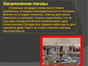 Загрязнение почвы Огромные площади поверхности Земли загрязнены отходами жизн