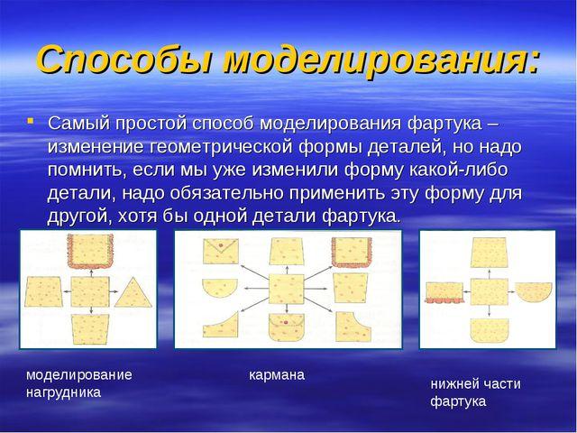 Способы моделирования: Самый простой способ моделирования фартука – изменение...
