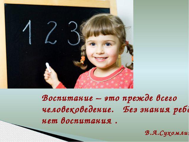 Воспитание – это прежде всего человековедение. Без знания ребёнка нет воспита...