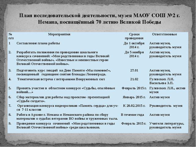 План исследовательской деятельности, музея МАОУ СОШ №2 г. Немана, посвящённый...