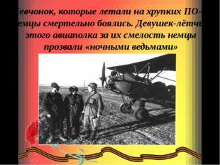 Девчонок, которые летали на хрупких ПО-2, немцы смертельно боялись. Девушек-л