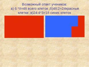 Возможный ответ учеников: а) 6 *8=48 всего клеток ;б)48:2=24красные клетки ;в